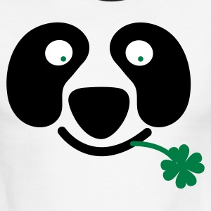 White/black cute irish panda with clover leaf St Patricks Day T-Shirts - Men's Ringer T-Shirt
