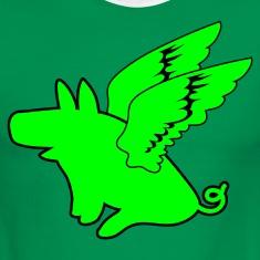 Green/white flying pig pigs might fly T-Shirts