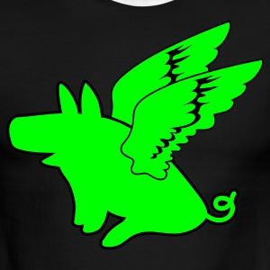 Green/white flying pig pigs might fly T-Shirts - Men's Ringer T-Shirt