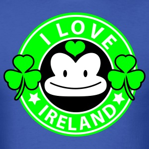 Royal blue i love ireland monkey face Coffee chain parody For St Patricks Day T-Shirts - Men's T-Shirt