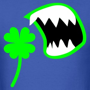 Royal blue St Patricks Day clover with an OPEN MOUTH ! T-Shirts - Men's T-Shirt