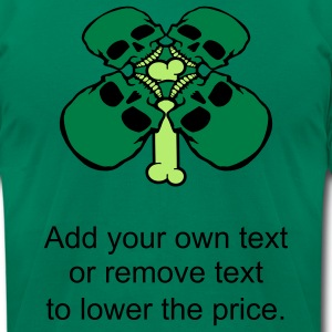 Kelly green Bone thru Four Leaf Clover Skulls T-Shirts - Men's T-Shirt by American Apparel