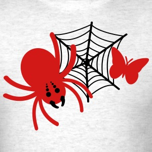 Light oxford red spider with butterfly in web T-Shirts - Men's T-Shirt