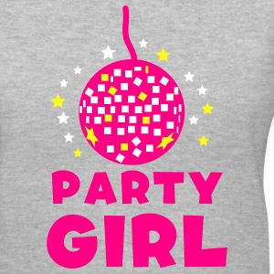 Gray PARTY GIRL with funky glitter ball and stars Women's T-Shirts - Women's V-Neck T-Shirt