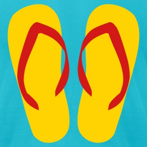 Turquoise Flip Flops - Thongs T-Shirts - Men's T-Shirt by American Apparel
