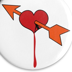 White love heart with cupids arrow bleeding Buttons - Small Buttons