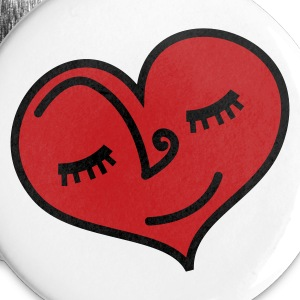 White love heart sleeping with lovely eyelashes Buttons - Small Buttons