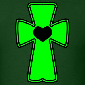 Forest green celtic cross with love heart T-Shirts - Men's T-Shirt