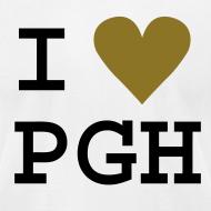 Design ~ I heart PGH Men's American Apparel T-shirt Mettalic Gold Heart