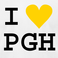Design ~ I heart PGH Men's American Apparel T-shirt Yellow Gold Heart