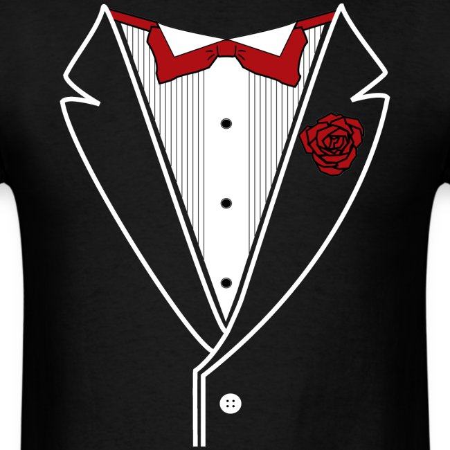 ff1295e8 Staying Classy | Classic Tuxedo w Red Bow Tie - Mens T-Shirt