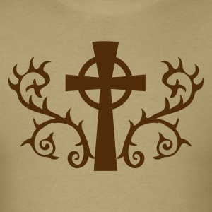 Khaki COOL gothic celtic cross with thorns METAL! T-Shirts - Men's T-Shirt