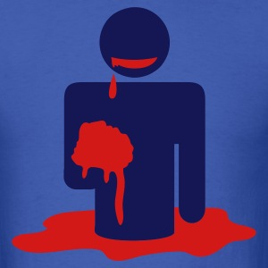 Royal blue zombie man eating brains in a pool of blood symbol T-Shirts - Men's T-Shirt