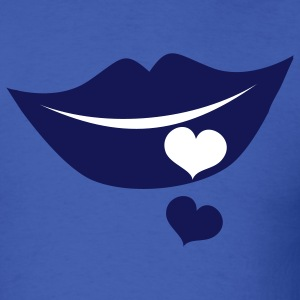 Royal blue smiling lips with cute love hearts T-Shirts - Men's T-Shirt