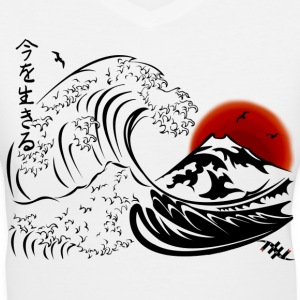 EthanX Carpe Diem Japanese Big Wave  - Women's V-Neck T-Shirt
