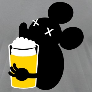 Slate beer drinking  mouse in the house T-Shirts - Men's T-Shirt by American Apparel