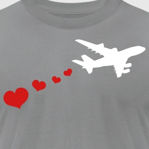 Slate air plane with love hearts travel T-Shirts - Men's T-Shirt by American Apparel