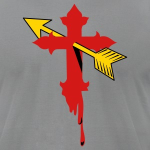 Slate cool gothic cross with cupids arrow bleeding T-Shirts - Men's T-Shirt by American Apparel