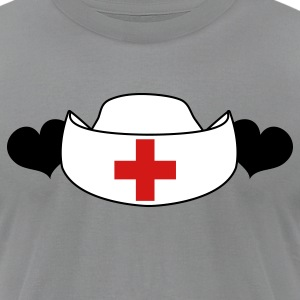 Slate NURSES hat with love hearts T-Shirts - Men's T-Shirt by American Apparel