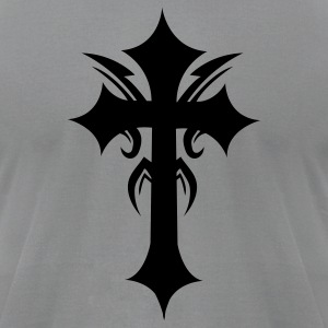 Slate embellished funky cool gothic cross T-Shirts - Men's T-Shirt by American Apparel