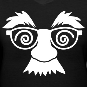 Black disguise mask with glasses and moustache Women's T-Shirts - Women's V-Neck T-Shirt