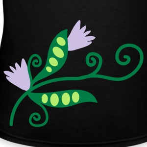 Black spring sweet pea with flowers and curls of foliage Women's T-Shirts - Women's V-Neck T-Shirt