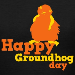 Black happy groundhog day Women's T-Shirts - Women's V-Neck T-Shirt