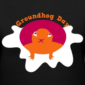 Black groundhog day with snow Women's T-Shirts - Women's V-Neck T-Shirt