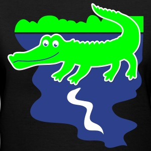 Black aligator or crocodile with a water background Women's T-Shirts - Women's V-Neck T-Shirt