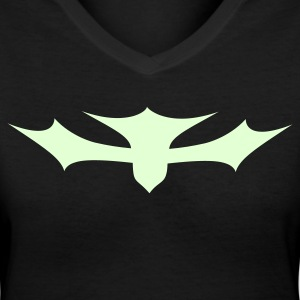 Black bat symbol cross Women's T-Shirts - Women's V-Neck T-Shirt
