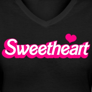 Black sweetheart with love heart in barbie font Women's T-Shirts - Women's V-Neck T-Shirt
