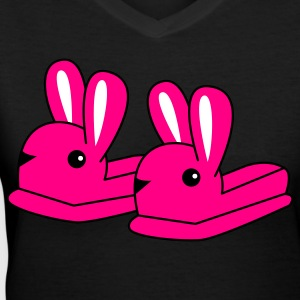 Black pink bunny slippers Women's T-Shirts - Women's V-Neck T-Shirt