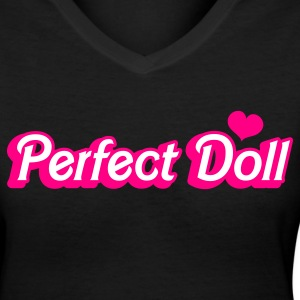 Black perfect doll in barbie like font Women's T-Shirts - Women's V-Neck T-Shirt