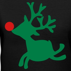 Black rudolph the red nosed reindeer left Women's T-Shirts - Women's V-Neck T-Shirt