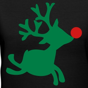 Black rudolph the red nosed reindeer right Women's T-Shirts - Women's V-Neck T-Shirt