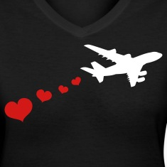 Black air plane with love hearts travel Women's T-Shirts