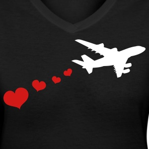 Black air plane with love hearts travel Women's T-Shirts - Women's V-Neck T-Shirt