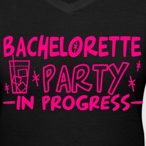 Black bachelorette party in progress vers2 Women's T-Shirts - Women's V-Neck T-Shirt