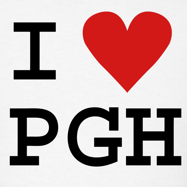 "Black (or you choose the shirt color) Black Text and Red Heart ""I heart PGH"" T-shirt - light weight cotton"