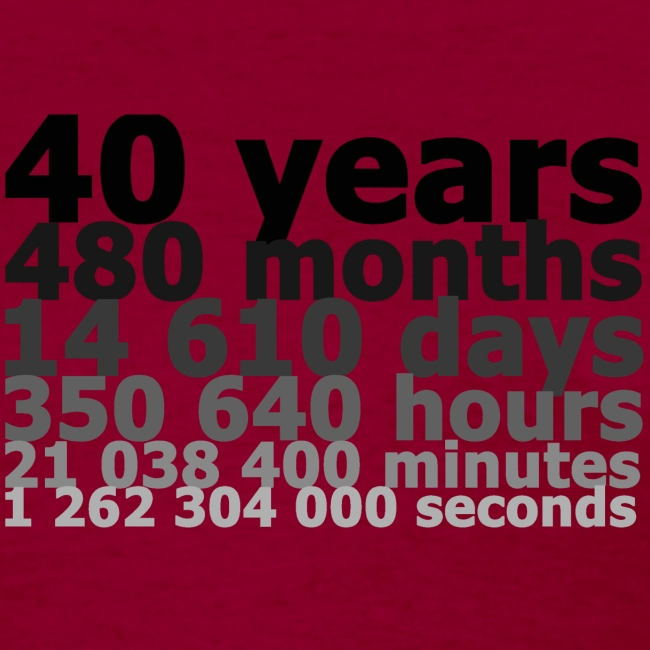 40 years, 1 262 304 000 seconds