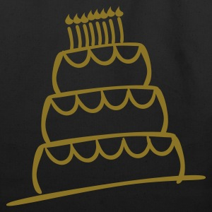 Black Funky 3-Layer Birthday Cake With Candles And Flames  Bags  - Eco-Friendly Cotton Tote