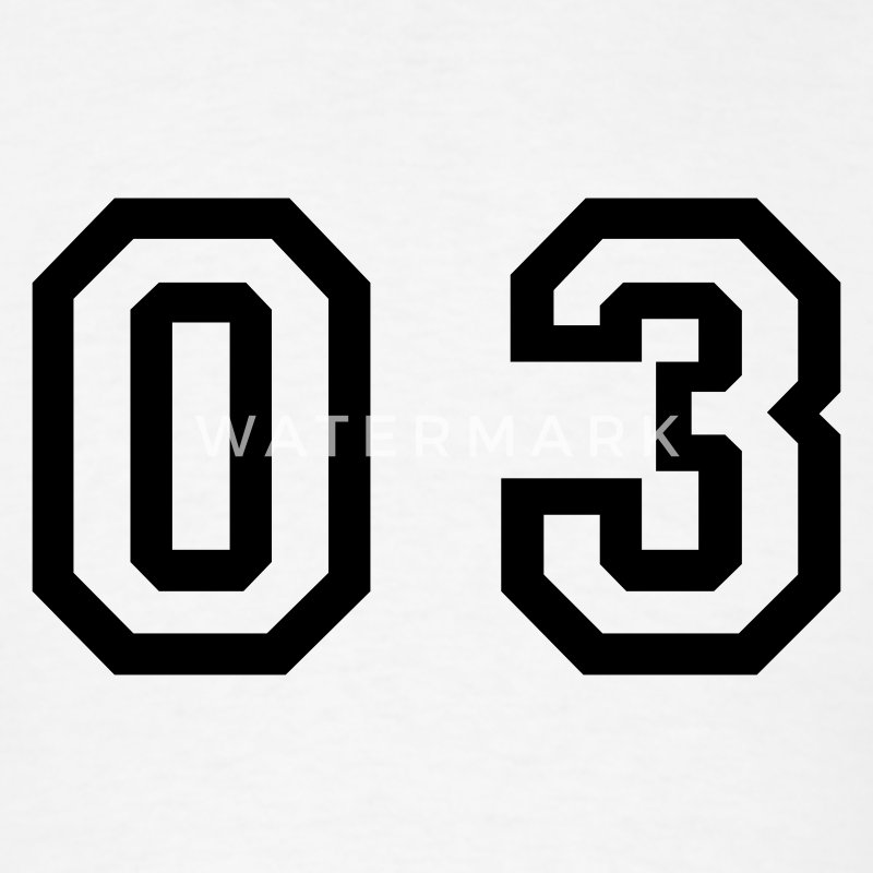 White number - 03 - zero three T-Shirts - Men's T-Shirt