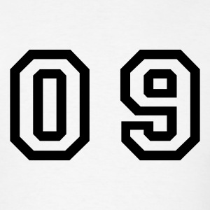 White number - 09 - zero nine T-Shirts - Men's T-Shirt
