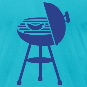 Turquoise BBQ T-Shirts - Men's T-Shirt by American Apparel