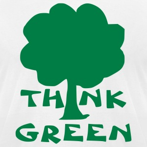 White think green T-Shirts - Men's T-Shirt by American Apparel