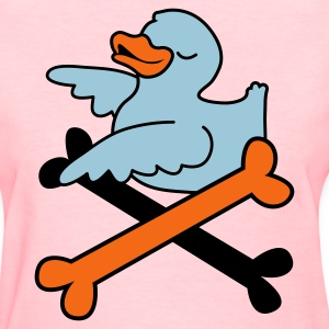 Pink rubber duckie and some pirate crossbones Women's T-Shirts - Women's T-Shirt