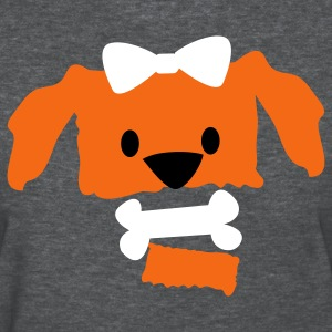 Deep heather pretty dog face with open jaw bow and bone Women's T-Shirts - Women's T-Shirt