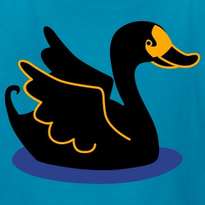 Turquoise black swan on some water Kids' Shirts - Kids' T-Shirt