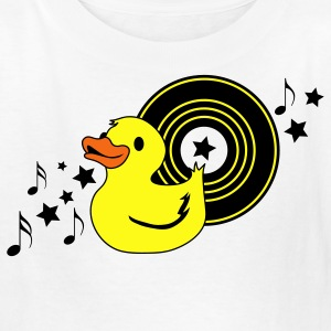 White rubber duckie with music record stars and funky ! Kids' Shirts - Kids' T-Shirt