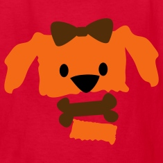 Red pretty dog face with open jaw bow and bone Kids' Shirts